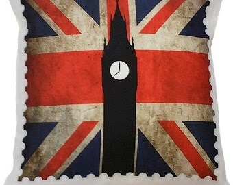 Big Ben Stamp Cushion. 35x35 CM.  High Quality UK Made Unique Brit Inspired Cushions From The True Brit Collection.
