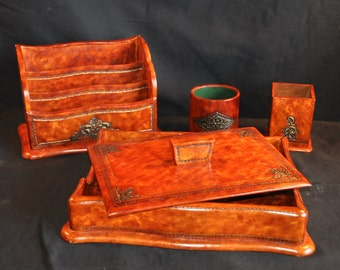 Horchow Leather Desk Set Louis Style With Boxes