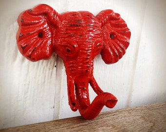 Cast iron elephant wall hook / coat hook / towel hook / key hook / jewelry hook / jungle decor / animal hook / nursery decor / kids room