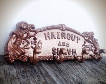 BOLD shave & haircut towel rack // metallic hammered copper // for him man cave towel coat hook // vintage inspired barber sign shabby chic