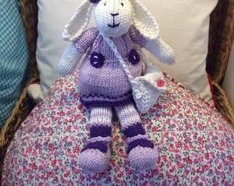 hand knit girl rabbit