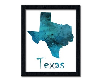 Your State Print, Custom Printable Wall art Decor, Texas art, Digital Printable, Custom State Print, Watercolor Poster, wp138