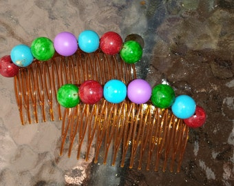 Decorative side-combs - colourful beads