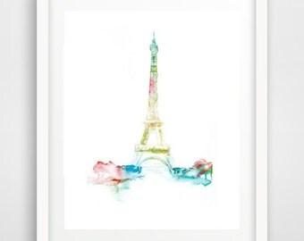 Abstract Wall Art, Watercolor Print, Printable Art, Eiffel Tower Art, Abstract Art Print, Instant Download, Modern Wall Art, Wall Decor