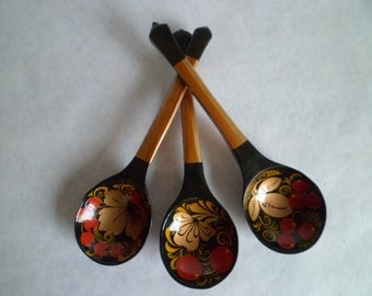 Vintage Wooden Spoon Painted in Khokhloma Style. Made in Soviet Union on 1980's.