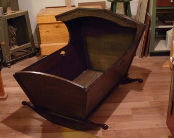 Victorian Style Rocking Cradle, Hand Crafted