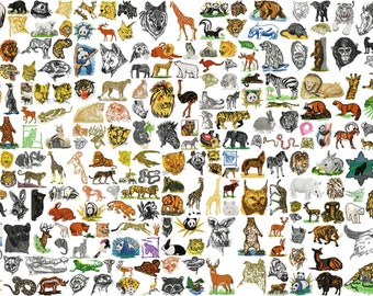 WILD LIFE animal designs for embroidery machine, instant download