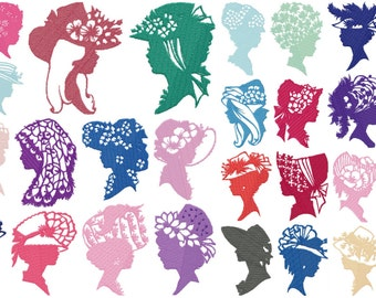 WOMAN SILHOUETTE designs for embroidery machine, instant download