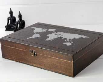 Wooden box with a world map