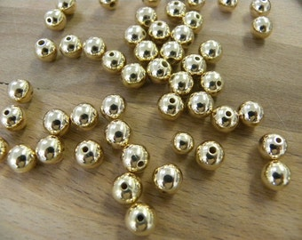 7mm 18/20 Gold filled round beads. Seamless Gold Beads