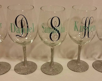 Bridesmaids gift wedding glasses, personalized wine glasses, glitter stem glasses