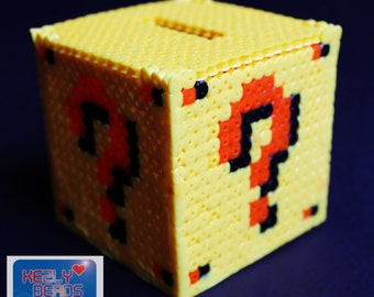 3D Mario Question mark Money box Hama Beads