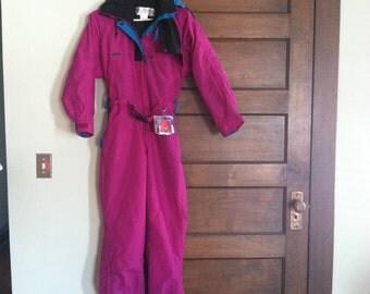 Vintage one piece Columbia purple snow suit. Women's small.