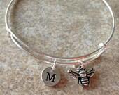 Honey Bee  Bangle, Honey Bee Bracelet, Expandable Bangle, Personalized Bracelet, Charm Bangle, Monogram, Initial Bracelet, Bee Necklace