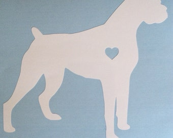 Boxer Sticker With Heart Cutout.