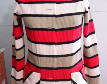 Vintage,1960s, women's blazer, pockets, stripes, bold colors