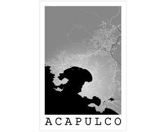 Acapulco City Street Map, Acapulco Mexico, Modern Art Print