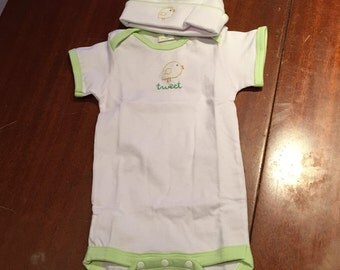 Hand Embroidered Romper with Matching Cap