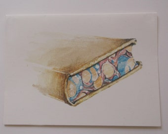 Greeting card. Library book with marbled book edges