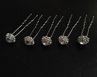 Rhinestone Bridal Hair Pins, Wedding Accessories, Silver