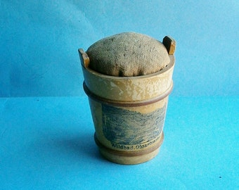 Mauchline Figural Pin Cushion and Needle Case in Shape of a Bucket