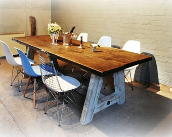A Frame rustic bespoke handmade table from reclaimed wood.