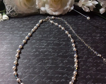 Crystal and Pearl Drop Back Necklace