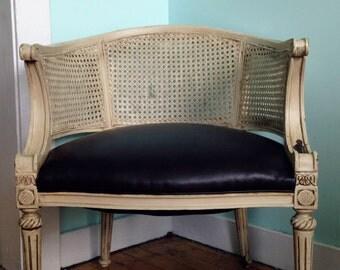 Antique white lattice chair / Restored