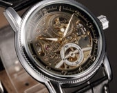 The Classic Skeleton Mens Leather Strap Sport Army Automatic Mechanical Watch