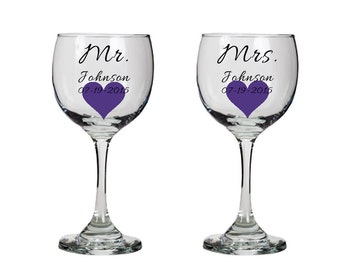 Mr and Mrs toasting glasses with heart - personalized red wine glasses - bride and groom glasses - wedding toast - bridal shower  - one pair