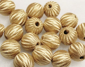 Large Golden Beads, Textile Beads, Big Bold Beads, Unique Large Beads