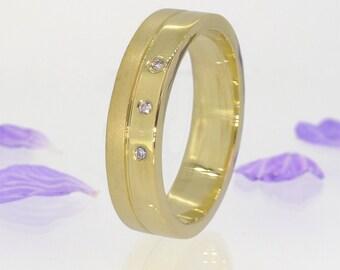 Men's Diamond Ring - Eco Friendly - 18k Yellow, Rose or White Gold - Handmade to Size