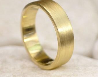 Spun Silk Wedding Ring - Eco Friendly - 18k Yellow, Rose or White Gold - Handmade to Order