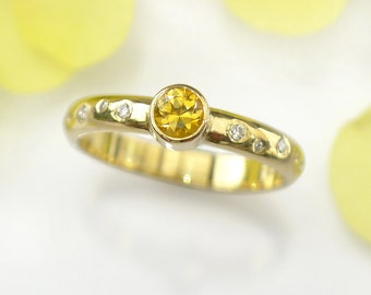 Yellow Sapphire Engagement Ring with Diamonds   18k Yellow Gold   Fair Trade and Eco Friendly   Handmade to Size in the UK
