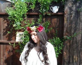 Summertime red and white floral crown