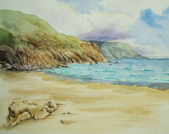 Origninal watercolour painting of a Cornwall Cove. Unframed.