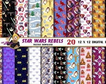 Star Wars digital paper, Rebels, Han Solo, Luke Skywalker, Princess Leia, pattern, background, Star wars scrapbook, party, birthday, x-wing