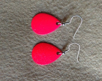 Fishing Lure Earrings- Fun and Bright Neon Pink Sparkly Spinner Blade Dangle on Hypoallergenic or Sterling Silver Earwires