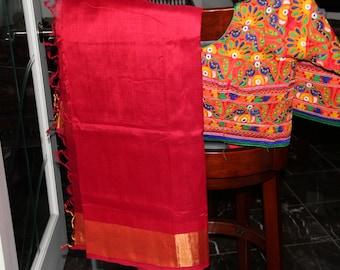 Sindoor Red Handloom Silk Cotton sari with Kutch machine embroidered blouse (Brand New)~Free Shipping~Karvachauth