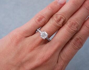 Elegant 1.82 ctw Cushion cut diamond ring with a gorgeous 1.51 ct F/SI1 Clarity Enhanced Cushion cut diamond
