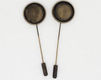6x Antique Bronze Stick Pin Blanks Fits 18mm Cabochon
