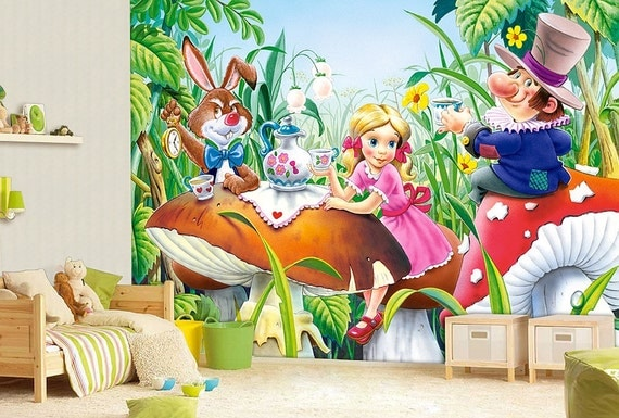 Alice in wonderland wall mural wallpaper wall d cor wall for Alice in wonderland wallpaper mural