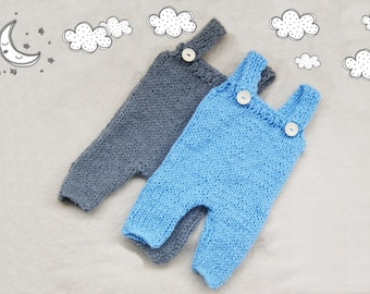 Baby Boy Knit Romper / Newborn Photo Props / Baby  Boy Outfit / Suspender Pants