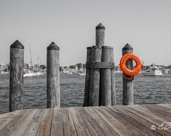 Annapolis Maryland Waterfront Pier Dockside Wall Art Photo Print Boating, Dock, Life Preserver Navel Academy / selective color