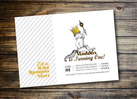 Where the Wild Things Are Birthday Invitation, Max - DIY ...