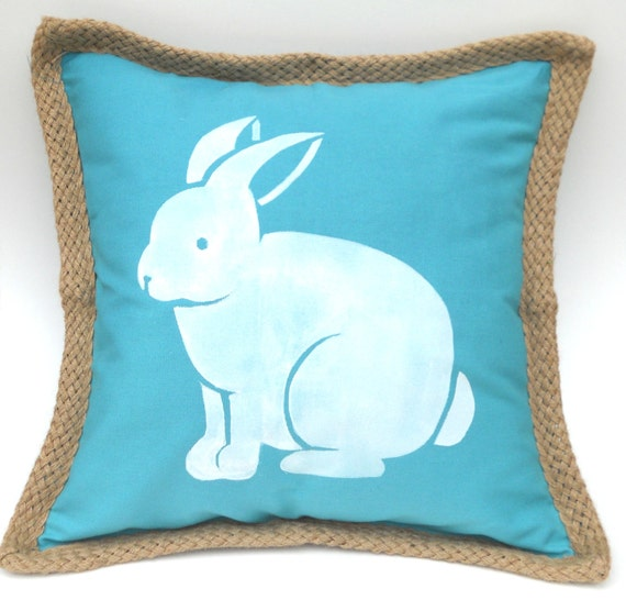 Easter Bunny Pillow Cover In Turquoise