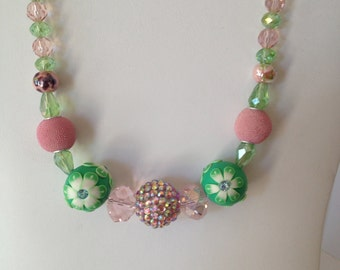 20 inch pink and green clay and crystal necklace