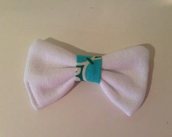White and blue hair bow