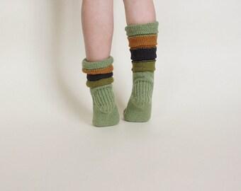 Kid's wool socks, green, blue, ochre colours