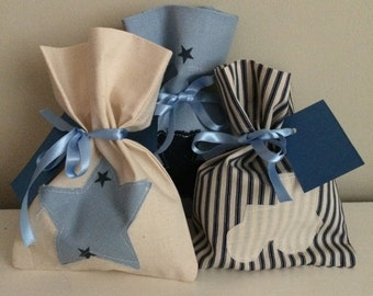 Blue fabric party bags